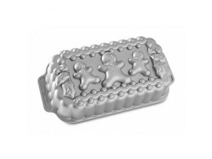 Forma na biskupský chlebíček Nordic Ware Perníček, 3 postavičky, stříbrná,1,4l