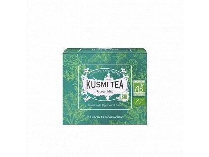 Sypaný bio organický bylinný čaj Kusmi Tea Green Mix, 20 sáčků