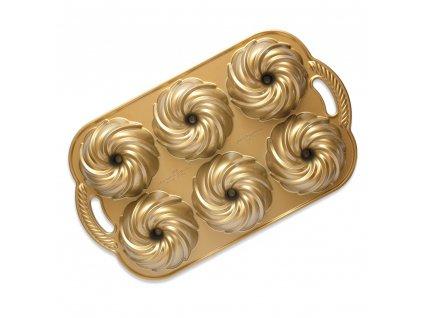 NW Mini bábovky Vodní vír plát se 6 formičkami 3 cup zlatá