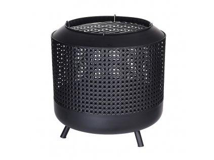 Ohniště s grilovacím roštem ocelové 50 x 50 cm