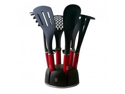 Kuchyňské náčiní ve stojanu sada 7 ks Burgundy Metallic Line BERLINGERHAUS BH-6241