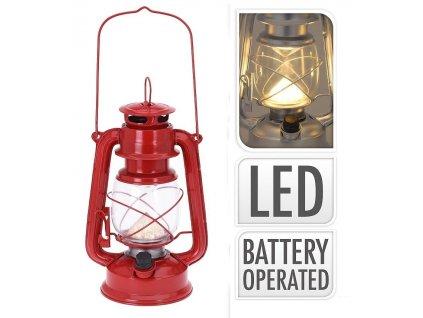 Lucerna s LED žárovkou 24 cm červená
