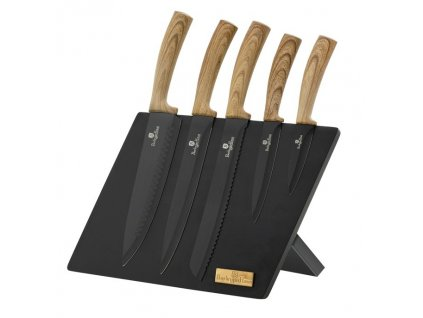 Sada nožů s magnetickým stojanem 6 ks Ebony Line Maple BERLINGERHAUS BH-2521