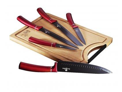 Sada nožů s nepřilnavým povrchem + prkénko 6 ks Burgundy Line