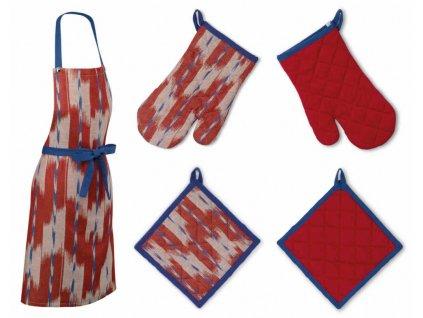 Sada kuchyňského textilu ETHNO červená 3 ks, 100% bavlna KELA KL-12441443445
