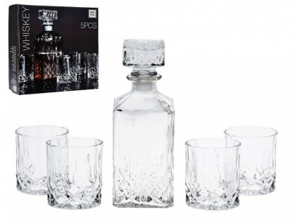 Whiskey set karafa + sklenice sada 5 ks křišťálové sklo, 0,9L
