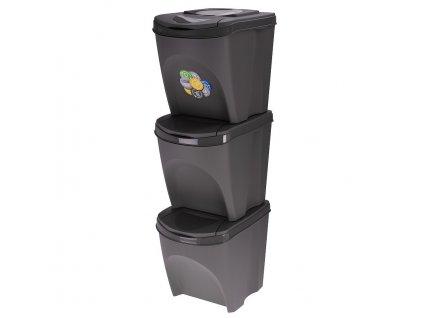 Odpadkový koš na tříděnný odpad SORTIBOX 3 x 25 l