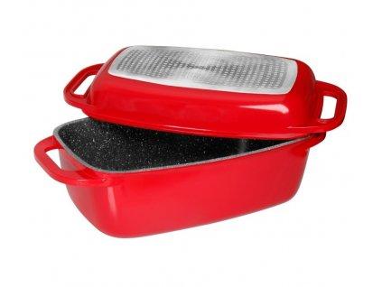 Pekáč z litého hliníku s víkem 32 cm červená STONELINE WX-13175