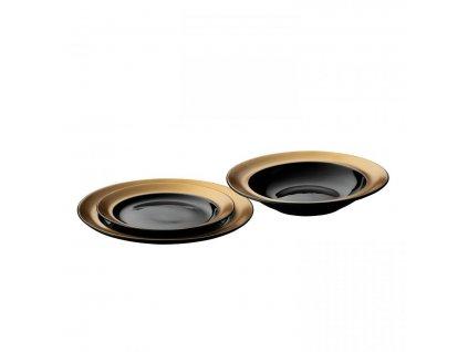 Jídelní sada talířů porcelán GEM 3 ks černá