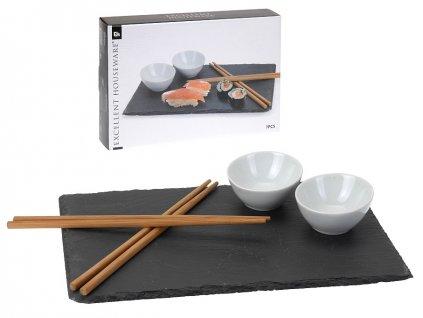 Sushi set porcelán/břidlice/bambus sada 7ks
