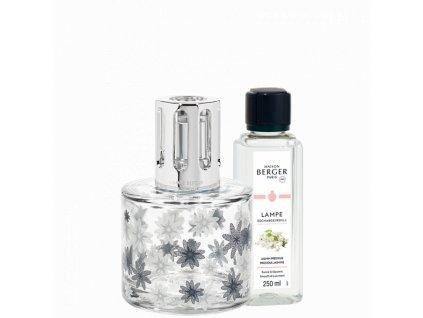 BERGER Pure floral lampa transparentní dokór + Vzácný Jasmín 250ml (C22021)