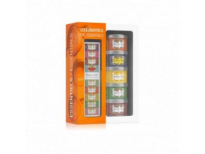 Kusmi Tea Essentials Teas dárkový set se sítkem plechovka 5x25g
