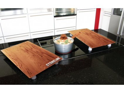 Krycí desky na sporák / prkénko sada 2 ks design dřevo STONELINE WX-17899