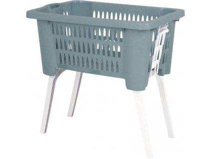 Koš na prádlo plast skládací nohy 38 l zelená