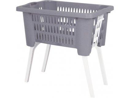 Koš na prádlo plast skládací nohy 38 l šedá