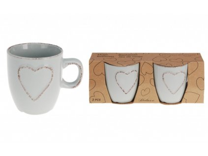 Hrnek na espresso srdce 150 ml sada 2 ks šedá KO-Q75910100seda
