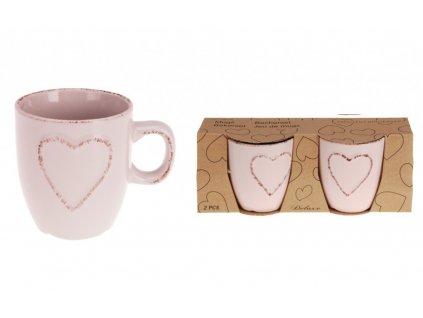 Hrnek na espresso srdce 150 ml sada 2 ks růžová KO-Q75910100ruzo