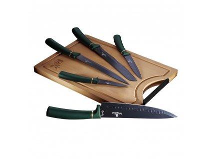 Sada nožů s nepřilnavým povrchem + prkénko 6 ks Berlingerhaus Emerald Collection BH-2551