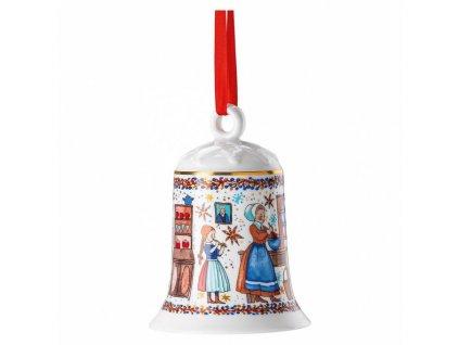 Rosenthal Hutschenreuther porcelánový zvonek na stůl nebo stromeček z kolekce Vánoční pečení, výška 12 cm