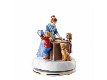 Rosenthal Hutschenreuther porcelánová hrací skříňka z kolekce Vánoční pečení, průměr 12 cm