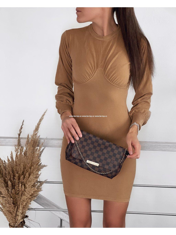 Push up semišové šaty TORI
