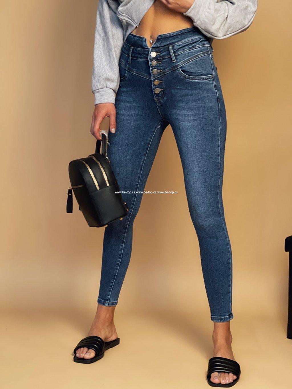 High waisted džíny s knoflíky BLUE
