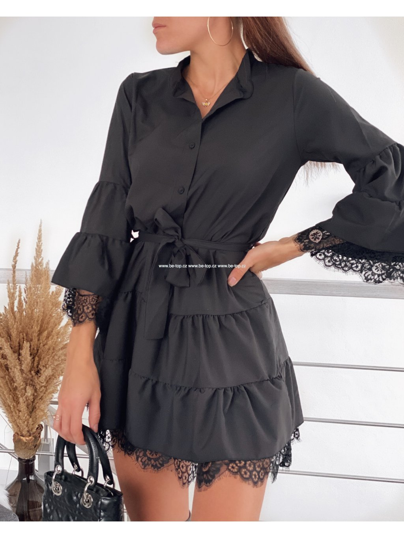 Volánkové šaty s krajkou LACIE