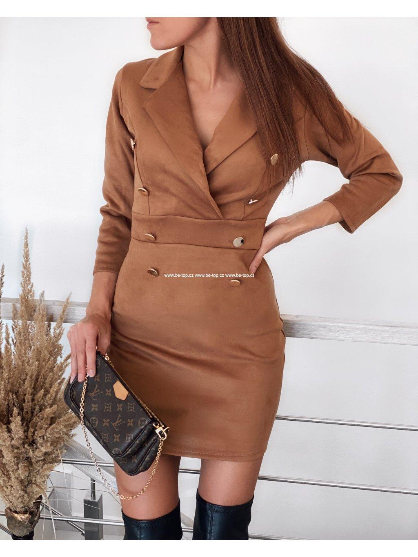 Semišové elegantní šaty DONA