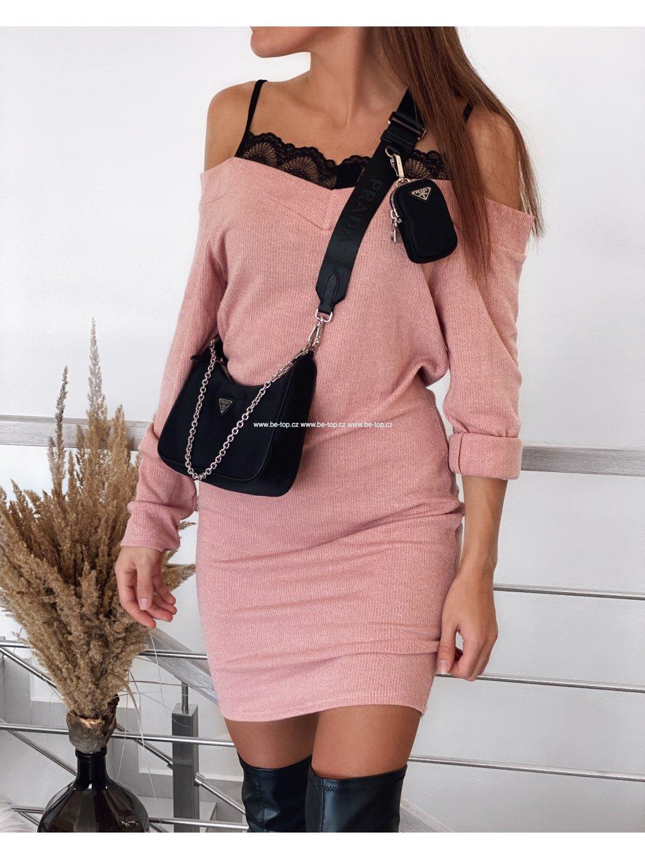Svetrové šaty s krajkou LACE