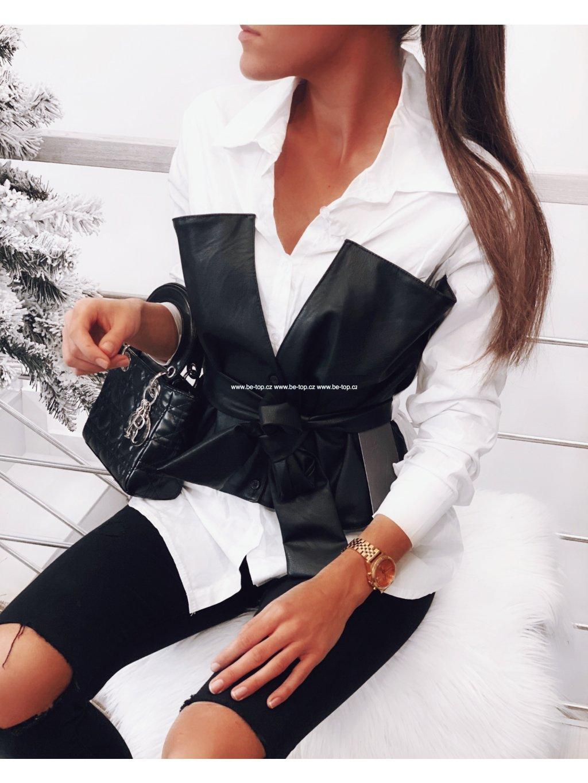 Košile s koženkou CALLIE