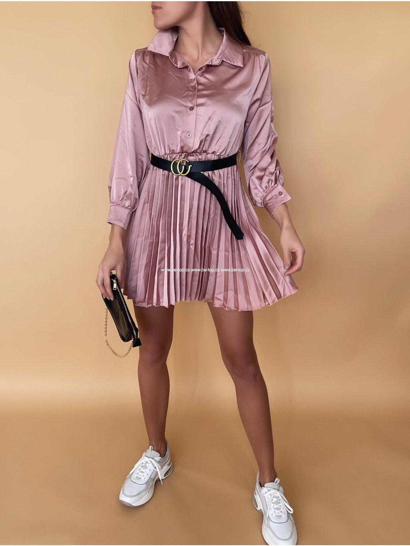 Saténové šaty s páskem GLORY