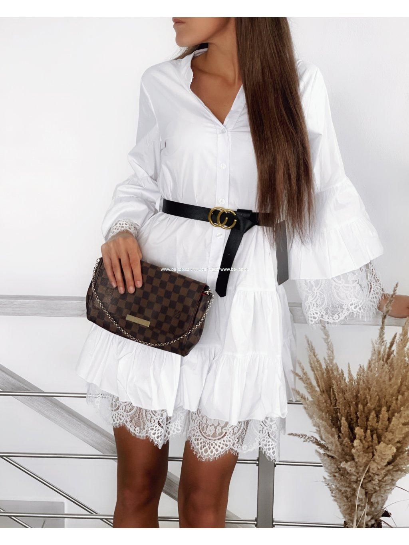 Krajkové šaty s páskem HAILY