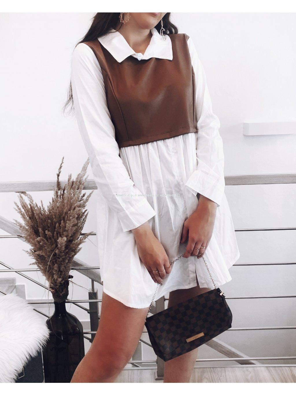 Šaty s koženkou TAN