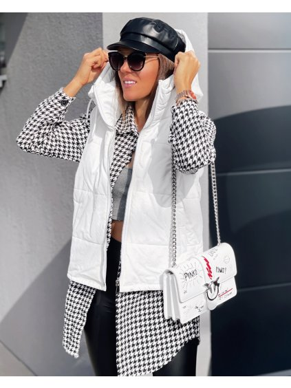 Koženková vesta s kapucí RIANNA