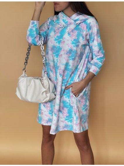 Oversized mikinové šaty s kapucí
