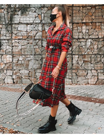 Kárované šaty s páskem ROCKY