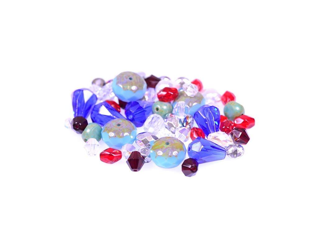 mix of facetted glass beads