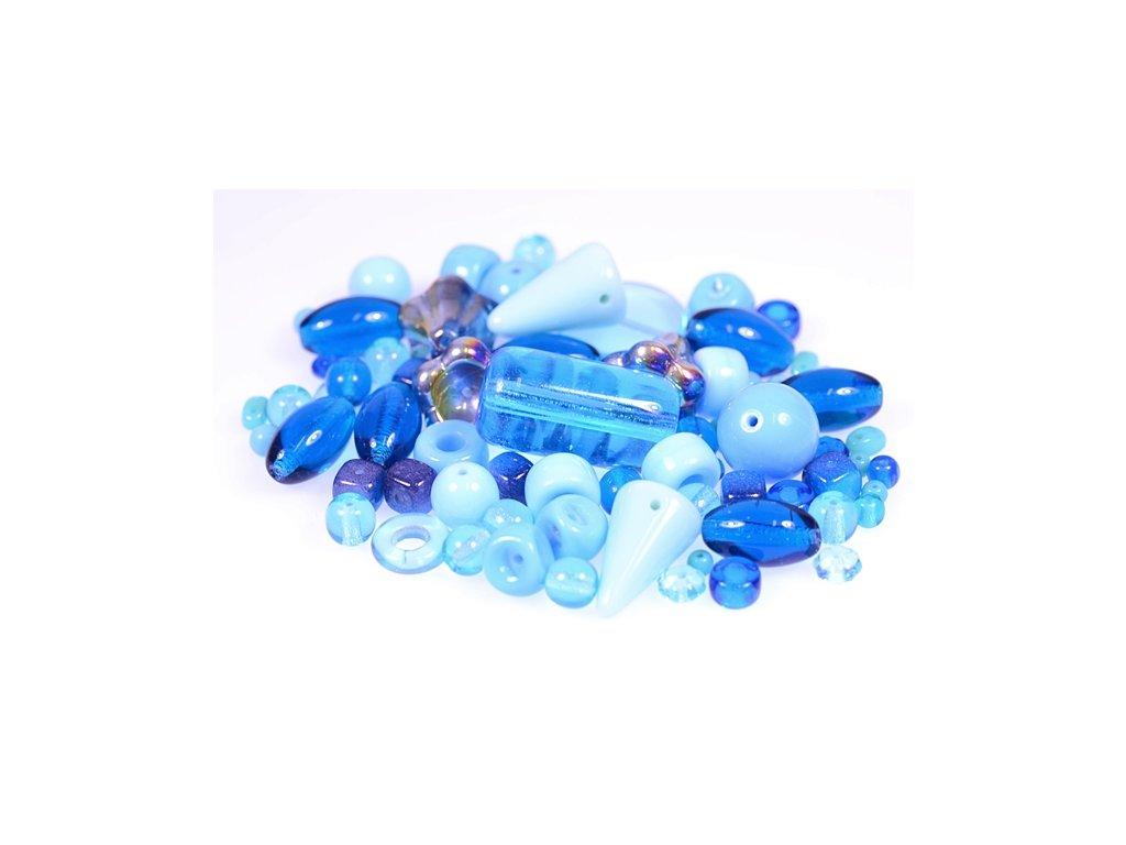 Mix of glass pressed beads aqua