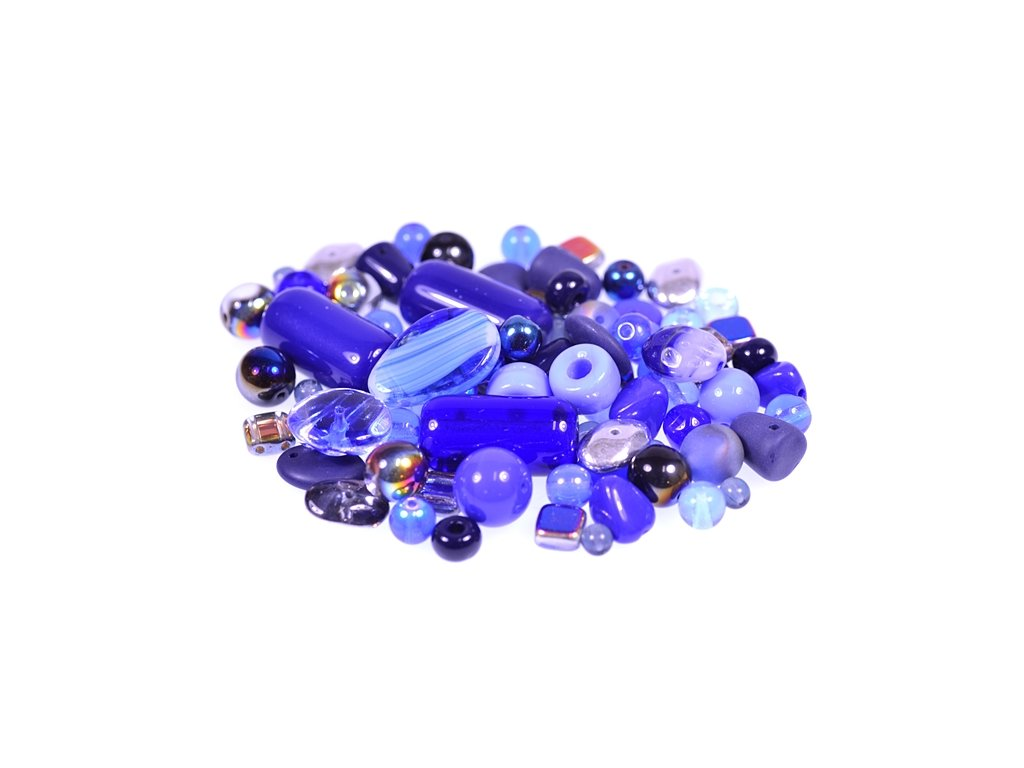 mix of glass pressed beads blue