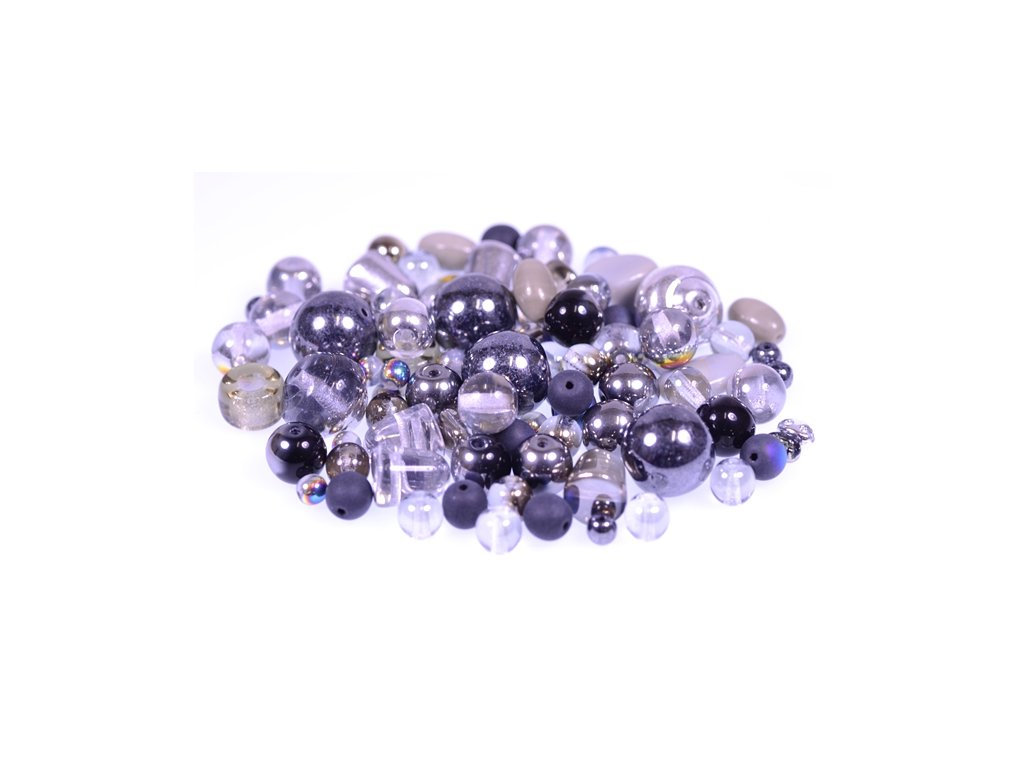 Mix of glass pressed beads grey