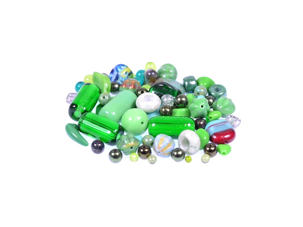 Mix of glass pressed beads green