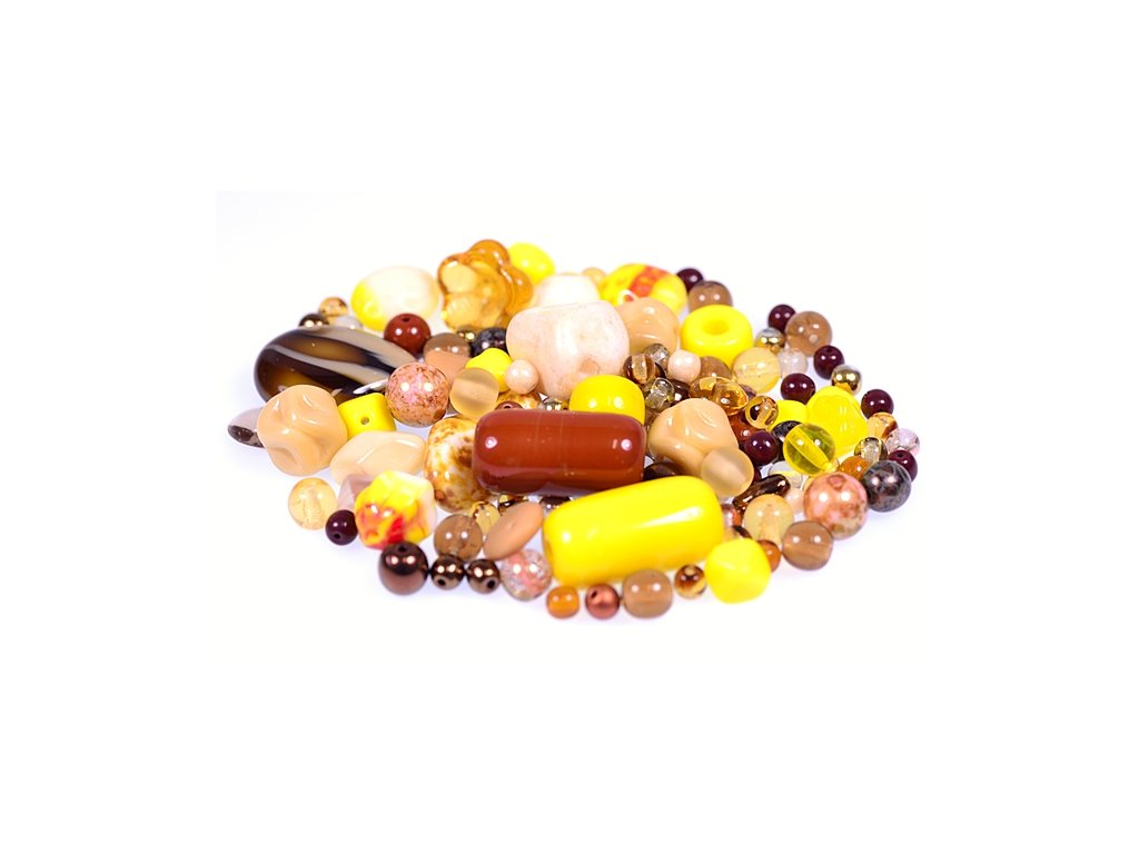 Mix of glass pressed beads yellow