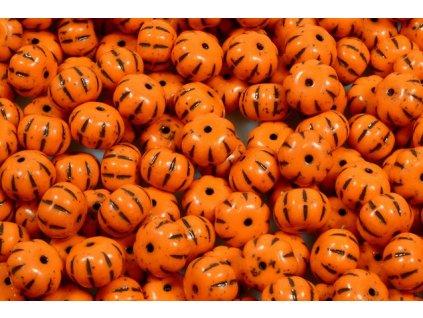 Shaped pressed glass beads - pumpkin 11100206 8x11 mm 93130/46410