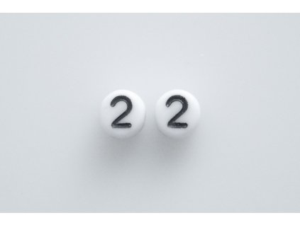 """Beads with numbers """"2"""" 11130218 6 mm 03000/46449"""