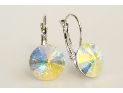 earrings Rivoli 12 mm crystal AB rhodium made with Swarovski®  Elements