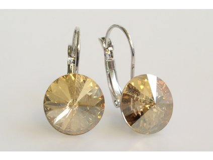 earrings Rivoli 12 mm crystal golden shadow rhodium made with Swarovski®  Elements