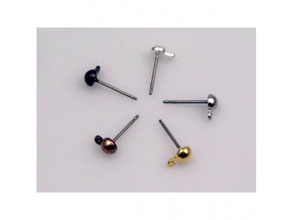 post earrings 13,5 mm with half-ball 4,2 mm - titanium