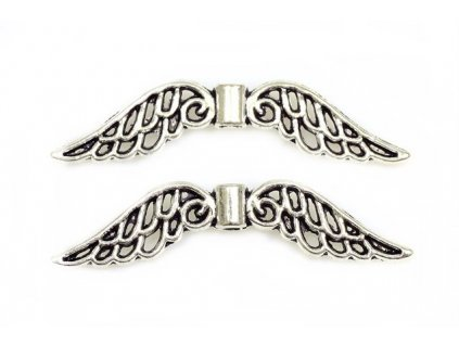 Wings 32x7 mm, antic silver