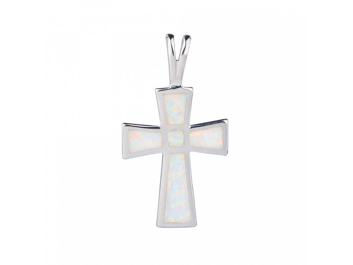 Stříbrný přívěsek KŘÍŽ bílý OPÁL