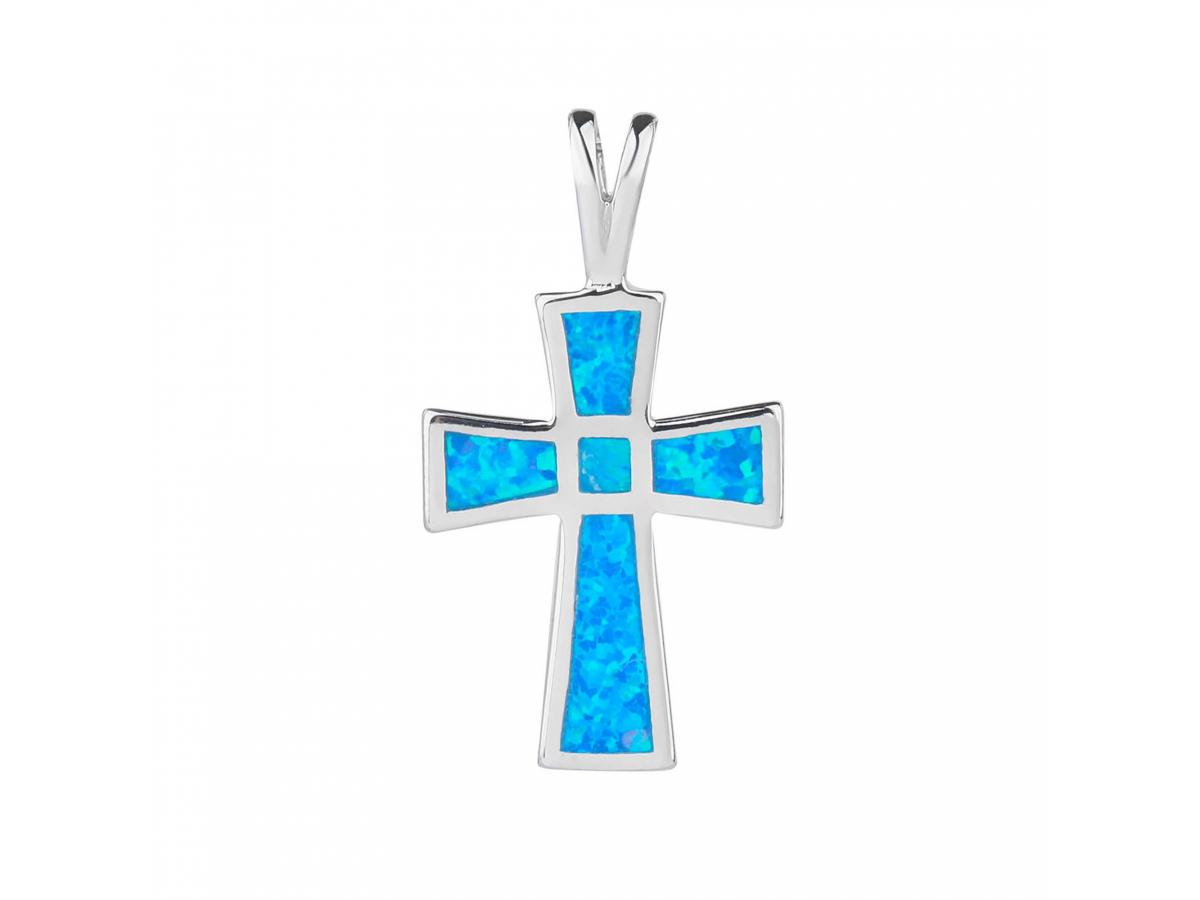 Stříbrný přívěsek KŘÍŽ modrý OPÁL